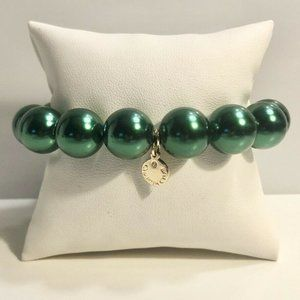Charter Club Pearl 14mm Stretch Bracelet Green